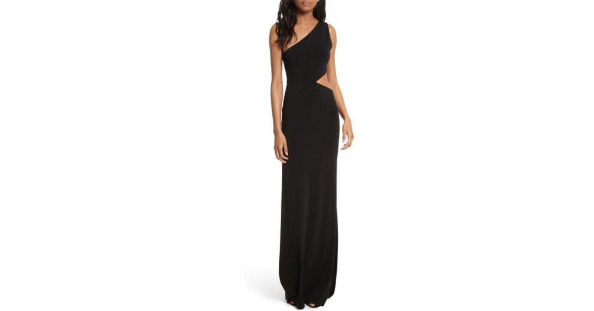 b89129852f0c Alice + Olivia Malia Cutout One-shoulder Maxi Dress in Black - Lyst