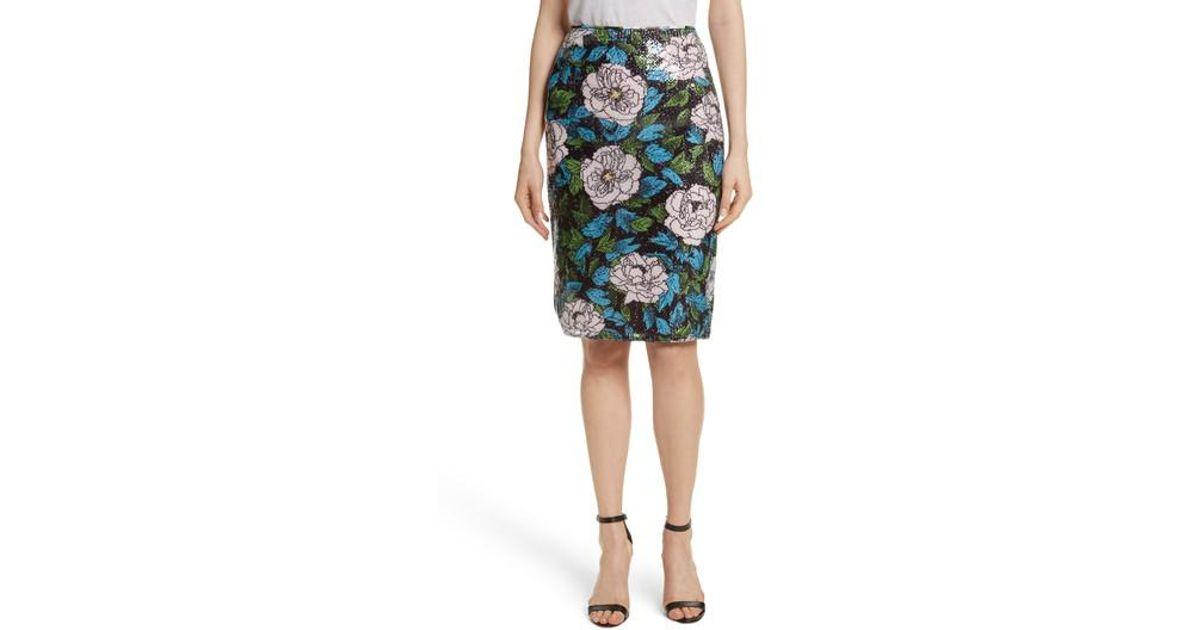 2ff01a586 Diane von Furstenberg Sequin Pencil Skirt - Lyst
