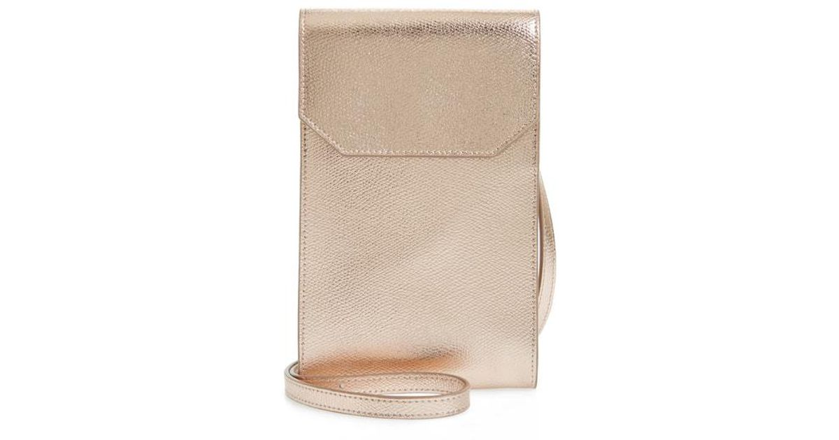 0a6949ca01af Lyst - Nordstrom Metallic Leather Phone Crossbody Bag - in Natural