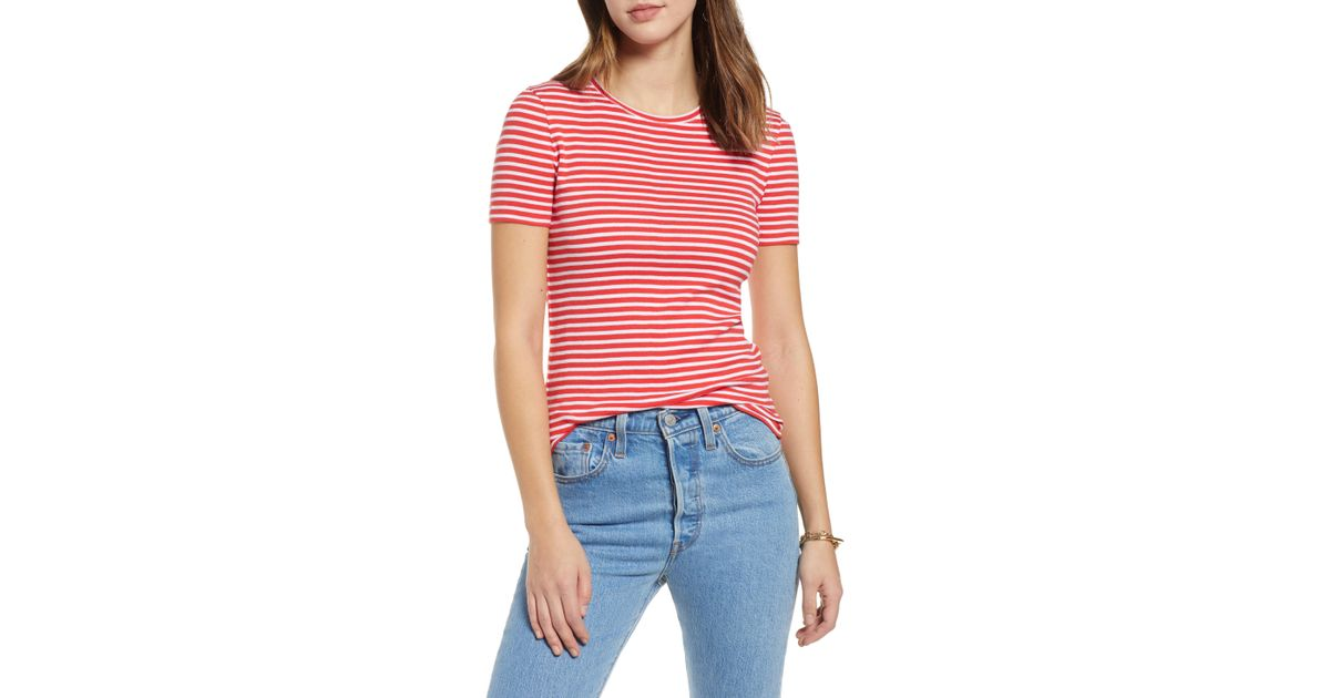42818a180a Lyst - Nordstrom 1901 Crewneck Cotton Blend Top in Red