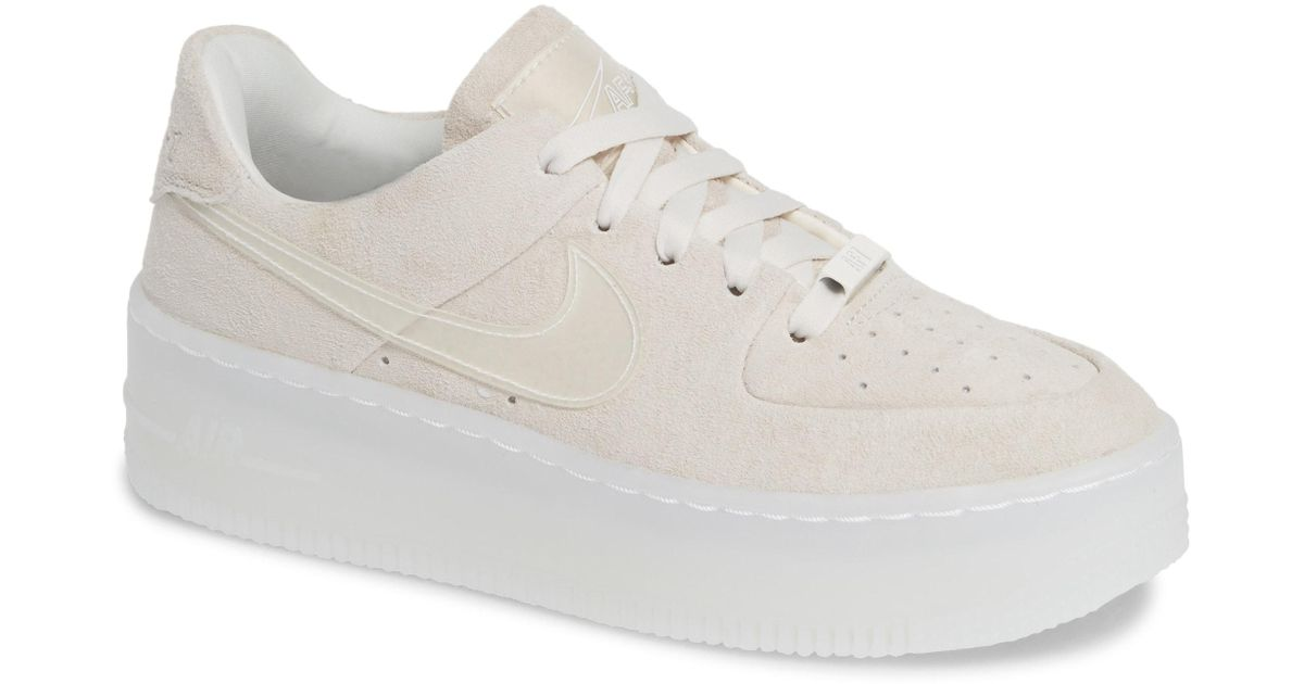 6ffd05a6a9f4 Nike Air Force 1 Sage Low Platform Sneaker in White - Lyst