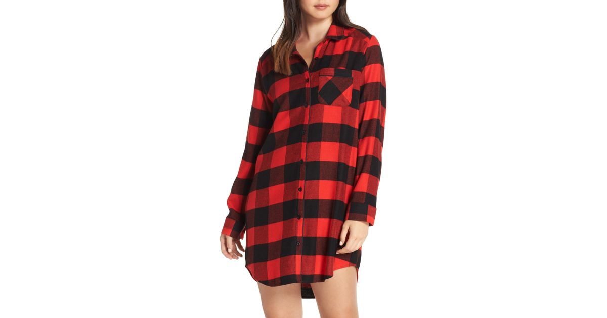 9e8eef2994946 Lyst - Nordstrom Flannel Nightshirt in Red - Save 71.42857142857143%