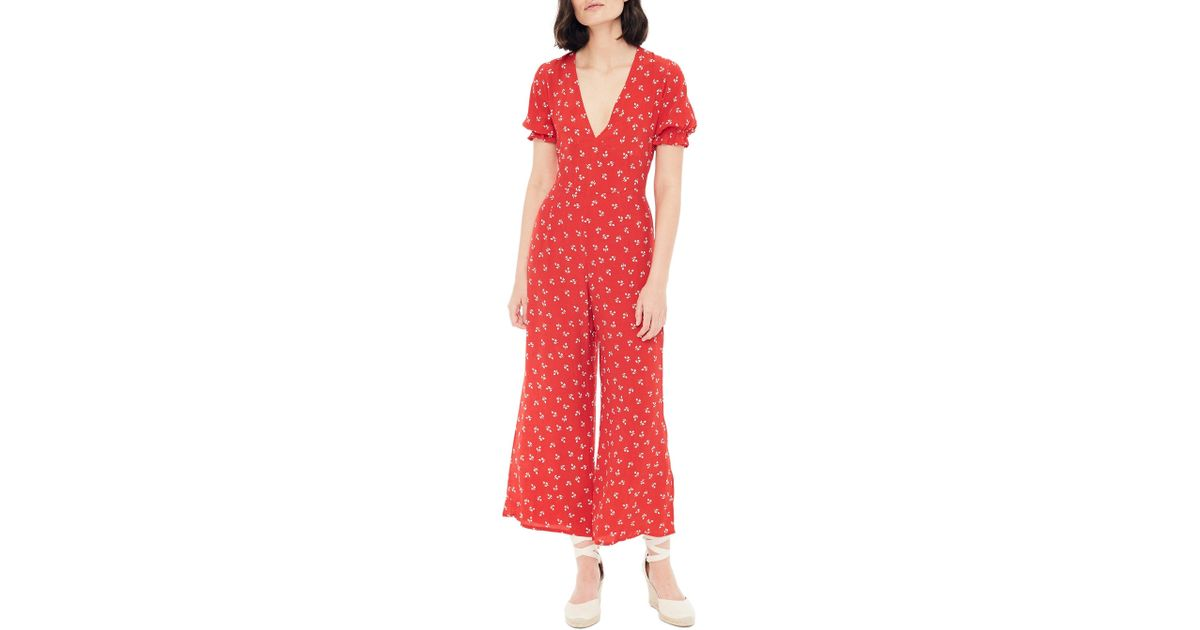 e32aefc21616 Lyst - Faithfull The Brand Mallory Jeanne Plunge Jumpsuit in Red