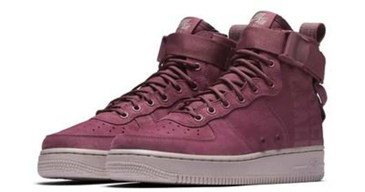 Lyst - Nike Sf Air Force 1 Force Is Female Mid Sneaker in Purple 790d034bf