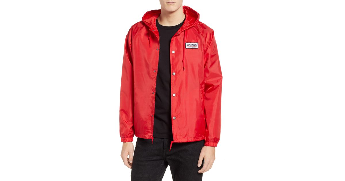 Lyst - Brixton Palmer Hooded Jacket in Red for Men ea5a9f6555e