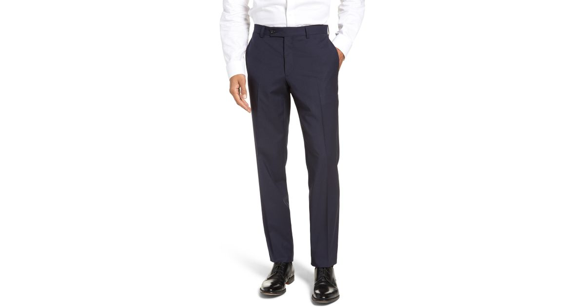 12a7108fa0f5b3 Lyst - Ted Baker Jefferson Flat Front Check Wool Trousers in Blue for Men