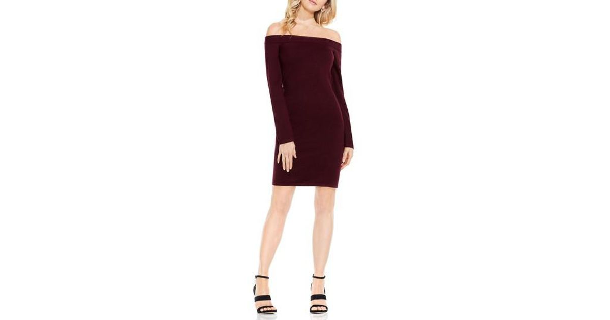 aa04f987d71 Lyst - Vince Camuto Off The Shoulder Sweater Dress in Red