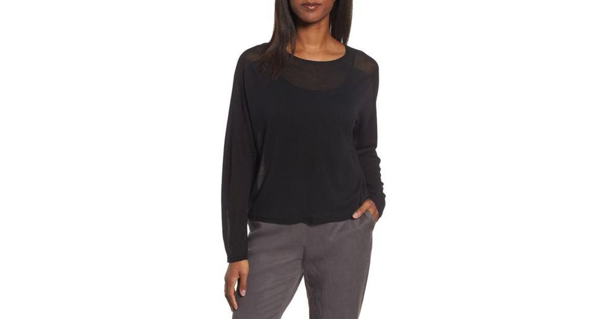 lyst eileen fisher tencel knit dolman top in black. Black Bedroom Furniture Sets. Home Design Ideas