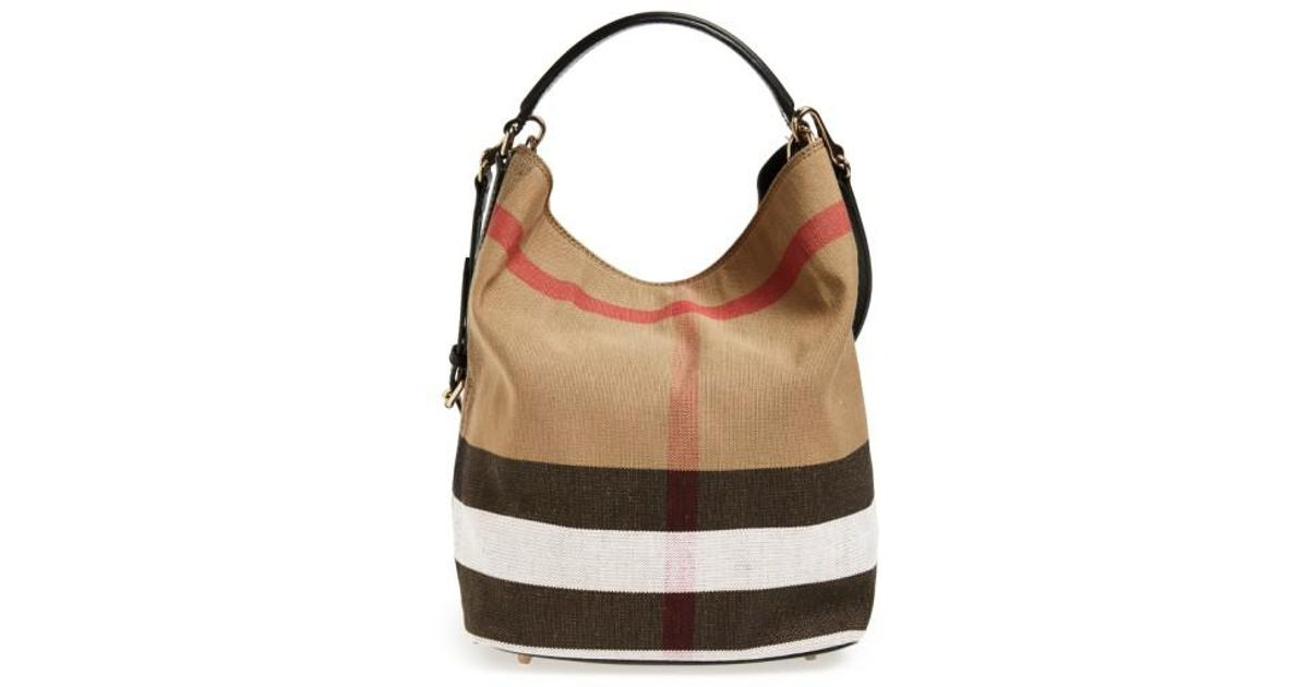 fb3b29071f91ed Burberry Medium Susanna Check Print Bucket Bag in Brown - Lyst
