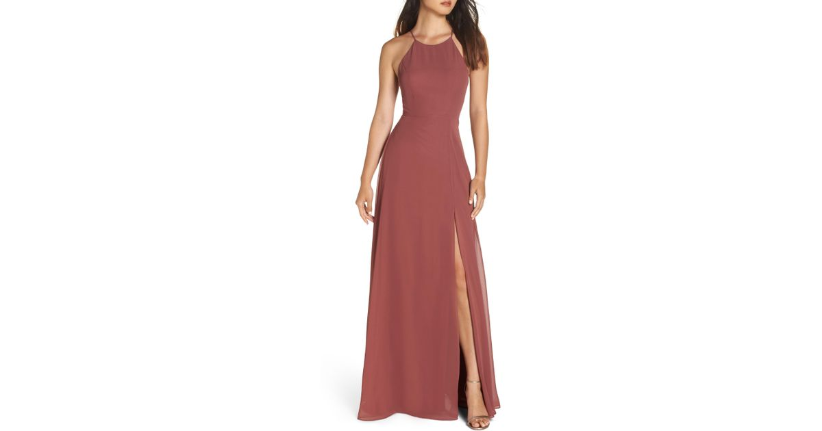 bf63a5a4ba9 Lyst - Jenny Yoo Kayla A-line Halter Gown in Pink