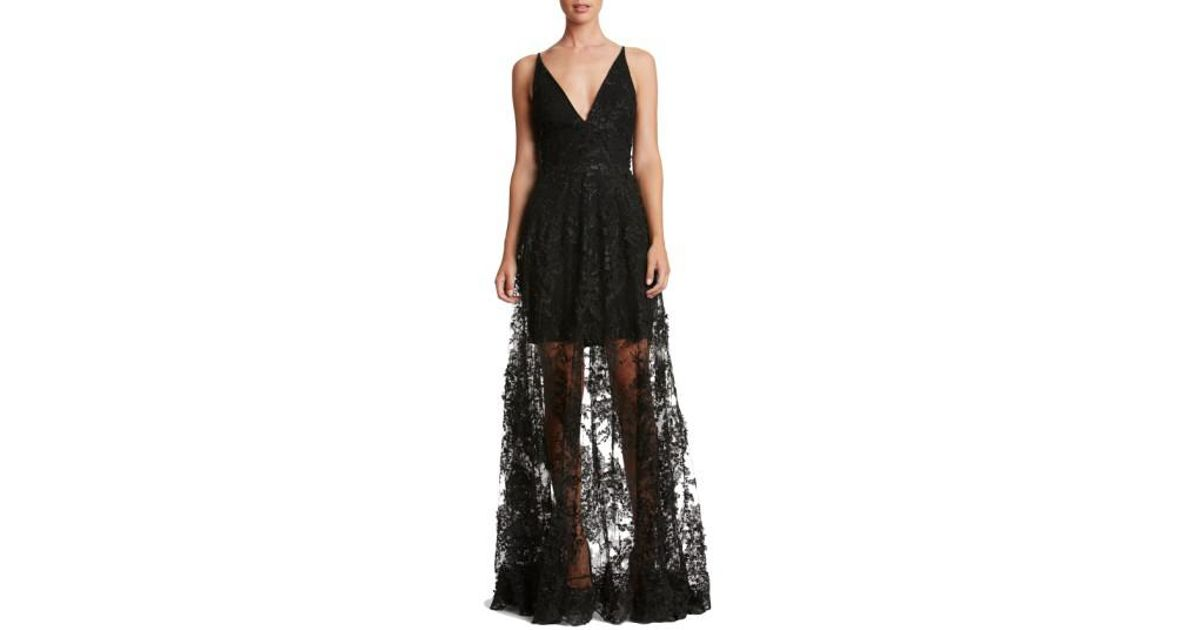 f6cb6808950 Dress the Population Sidney Lace Gown in Black - Lyst