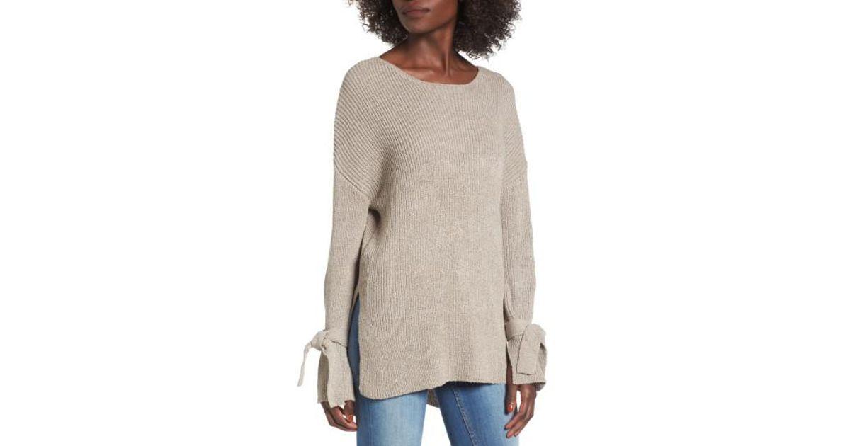 8ba4dbfda225d6 Lush Tie Sleeve Sweater in Gray - Lyst