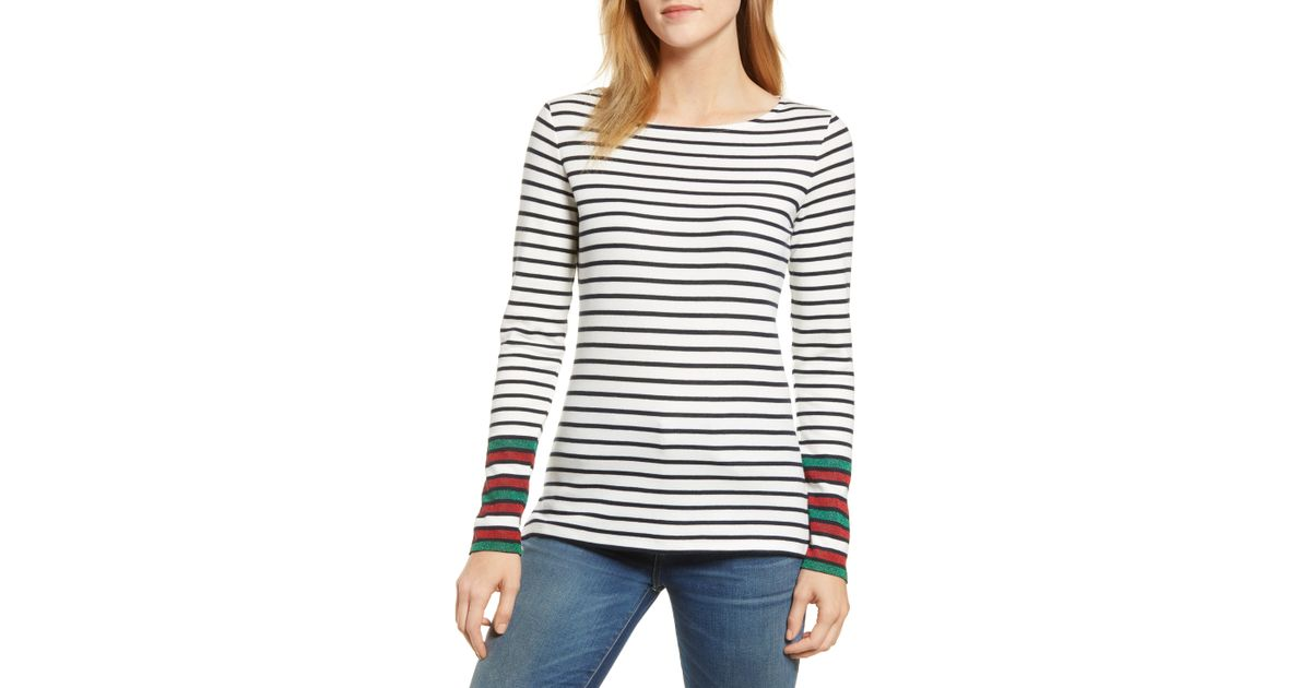 0ee6b19620 Lyst - Boden Breton Sparkle Stripe Long Sleeve Cotton Blend Tee