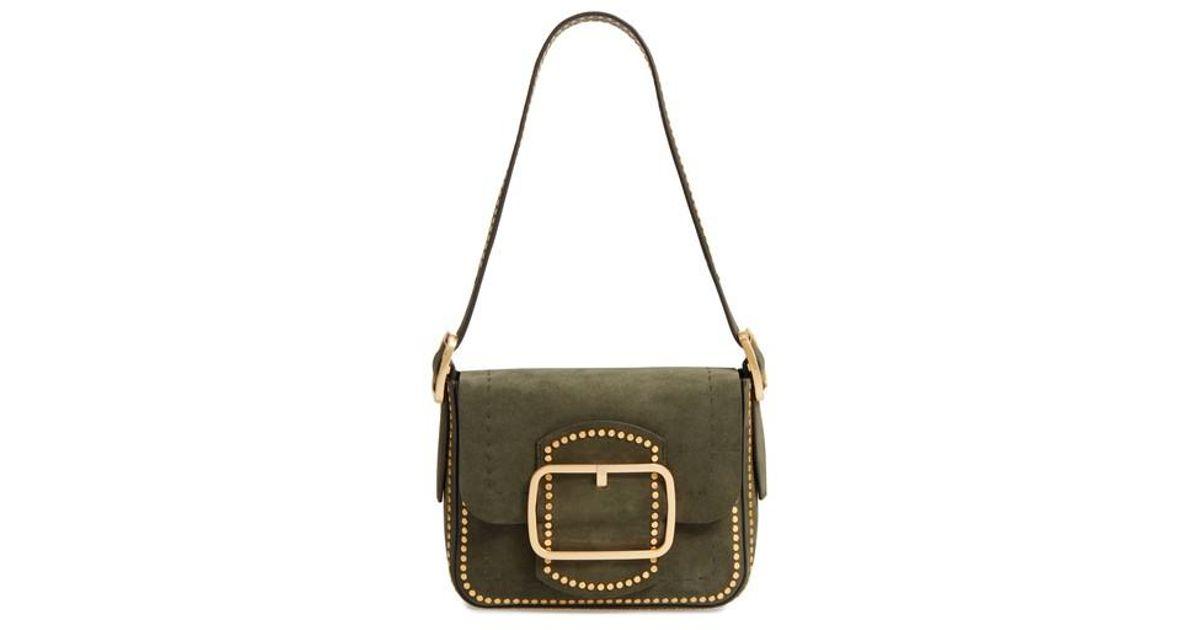 42e1b45b35b1 Lyst - Tory Burch Small Sawyer Stud Suede Shoulder Bag