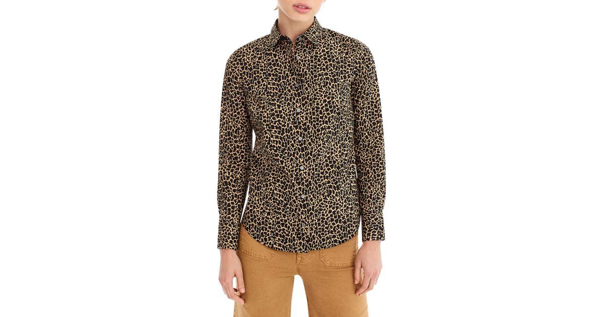 0cfe8393969 Lyst - J.Crew Leopard Print Slim Stretch Perfect Shirt in Brown - Save 30%