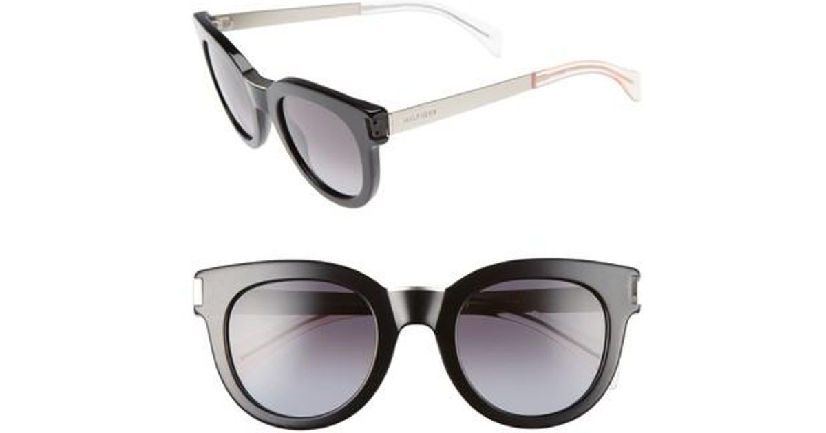 5712ee20f36f Lyst - Tommy Hilfiger 49mm Butterfly Sunglasses in Black