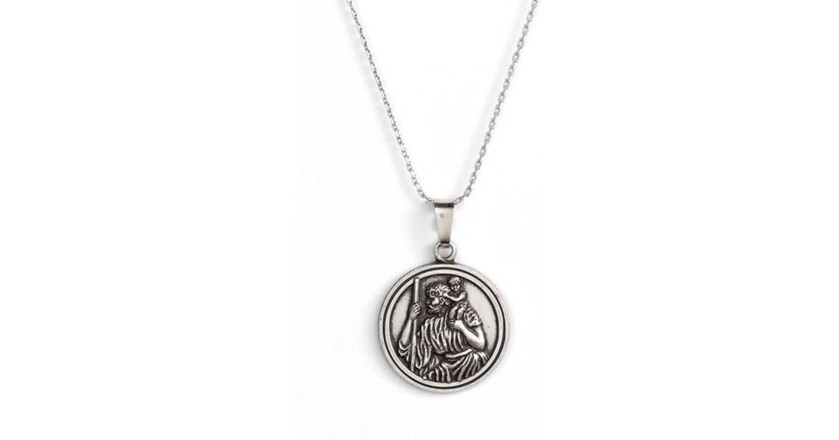 Lyst alex and ani saint christopher pendant necklace in metallic aloadofball Gallery