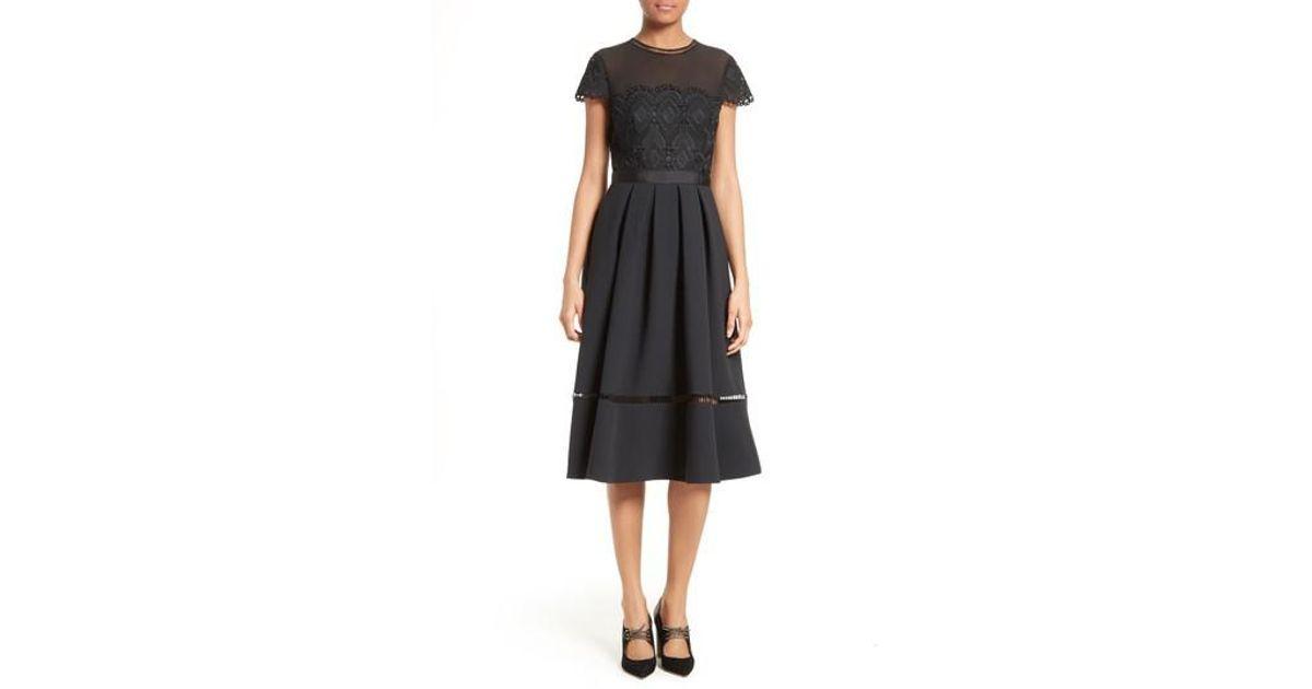 67b0cc618f46 Lyst - Ted Baker Frizay Lace Bodice Pleated Midi Dress in Black