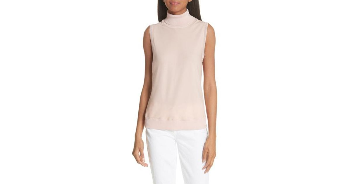 f63ad63a80b961 Lyst - Theory Sleeveless Turtleneck Silk Shell in Pink