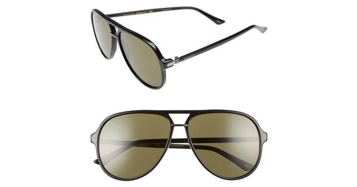 bd451d63690 Lyst - Gucci Retro Web Pilot 58mm Sunglasses in Green for Men