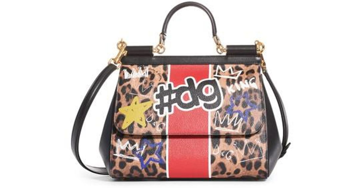 Lyst - Dolce   Gabbana Large Miss Sicily Logo Faux Leather Satchel 2b05e4e61d