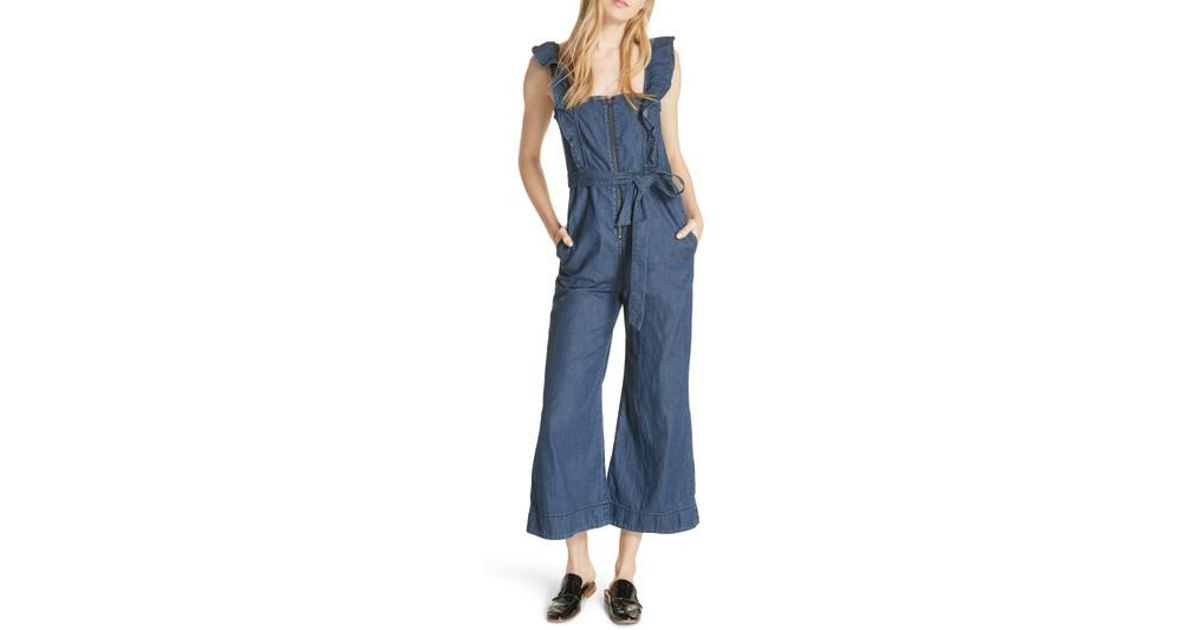 a037a8341dcf Lyst - Free People Sun Valley Jumpsuit in Blue