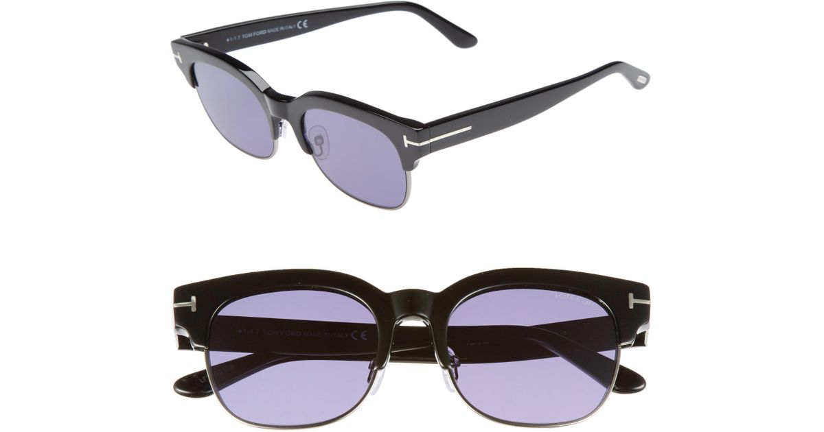 139a00fdd51 Lyst - Tom Ford Harry 53mm Half-rim Sunglasses in Blue