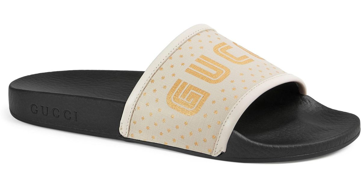 c74a44ceea2 Lyst - Gucci Pursuit Guccy Logo Slide Sandal in White - Save 23%
