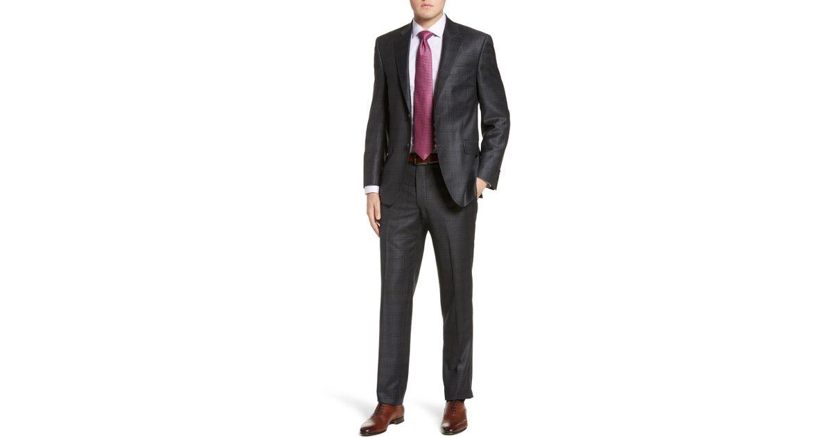 f03d673cbe7bb2 Lyst - Peter Millar Flynn Classic Fit Windowpane Wool Suit in Gray for Men