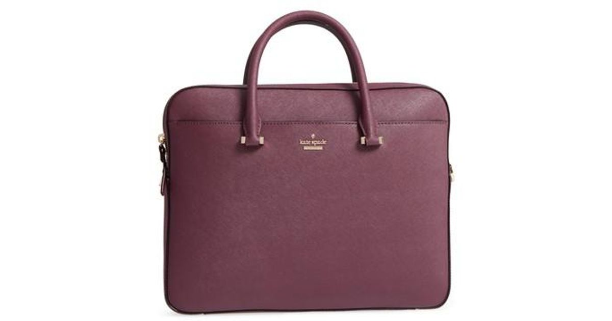 d10c5c2f56f5 Kate Spade Saffiano Leather Laptop Bag - Purple in Black - Lyst