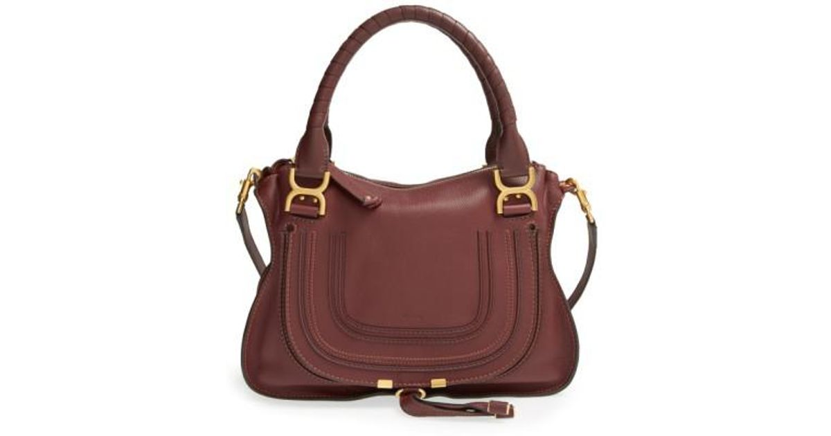 e77652fb51a Chloé 'medium Marcie' Leather Satchel - Burgundy in Purple - Lyst