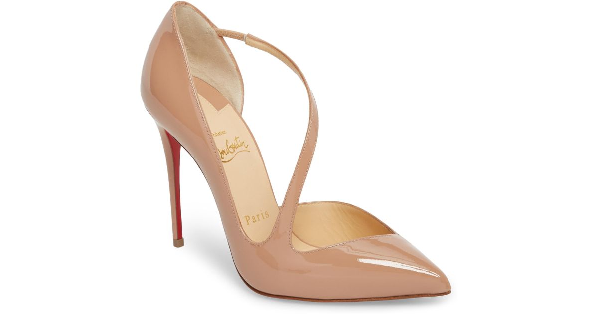 241d8434bcf9 Lyst - Christian Louboutin Strappy Half D orsay Pump in Natural