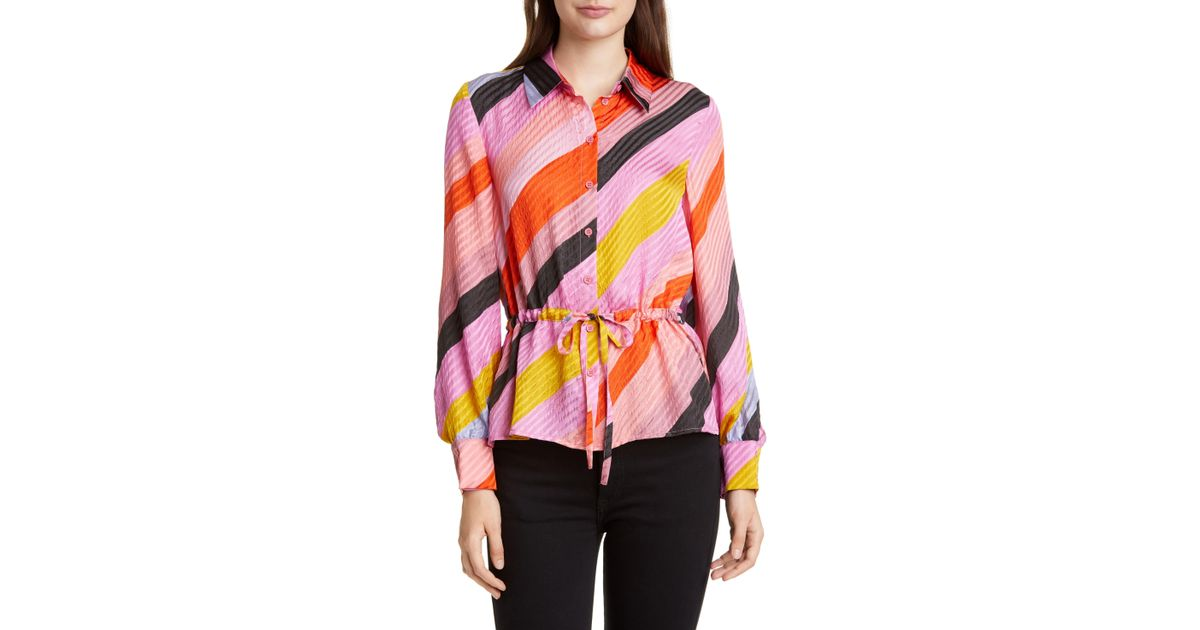 b9085471efb Stine Goya Faith Tie Waist Silk Shirt in Pink - Lyst