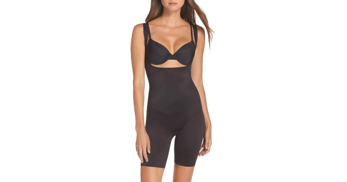 718056796cb60 Lyst - Tc Fine Intimates Torsette Underbust Mid Thigh Bodysuit Shaper in  Black
