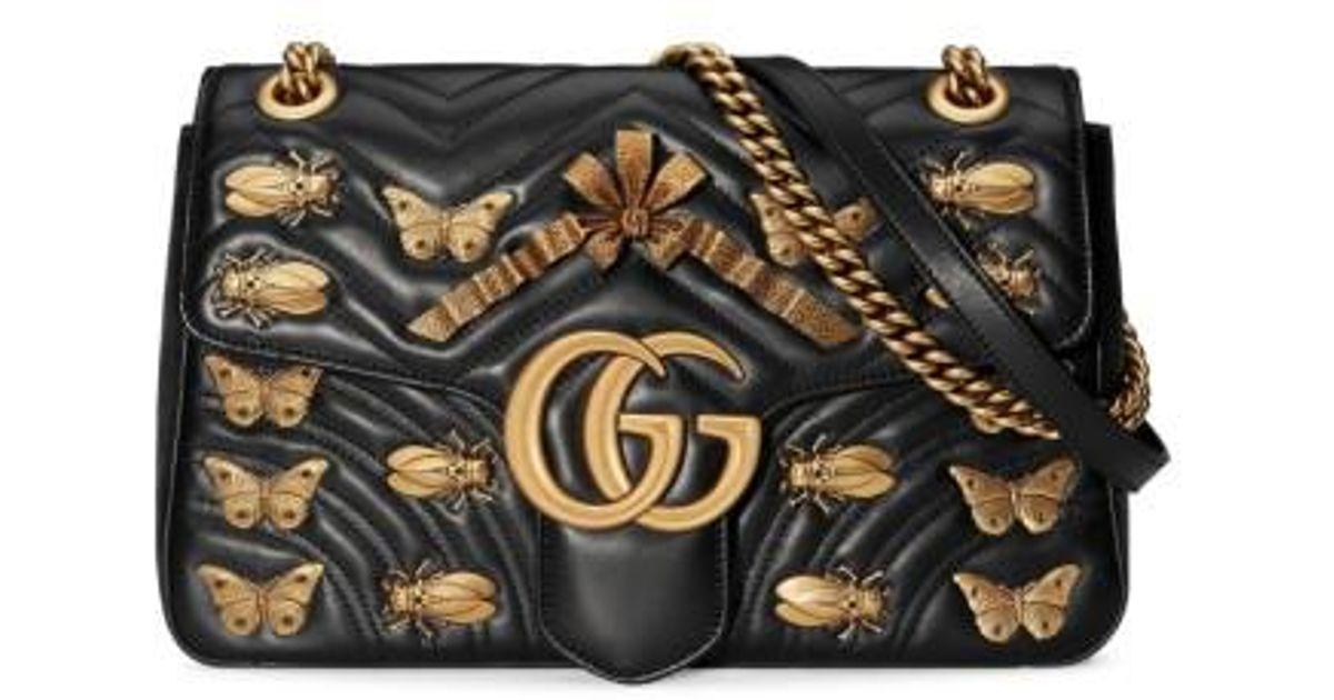 f6b6d9542d8d Gucci Medium Gg Marmont 2.0 Animal Stud Matelasse Leather Shoulder Bag in  Black - Lyst