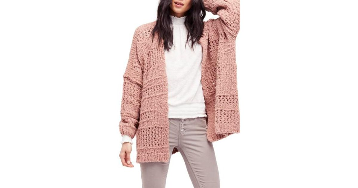 e9e686337a8 Lyst - Free People Saturday Morning Cardigan in Pink