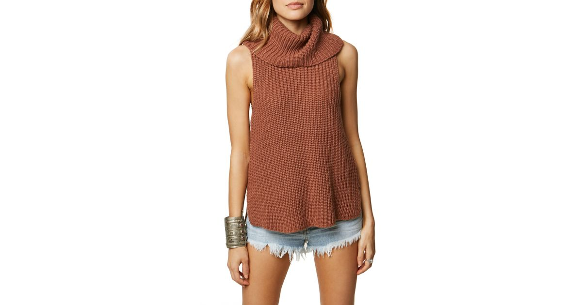 094f65c62500b6 Lyst - O neill Sportswear Rafaeli Sleeveless Turtleneck Sweater in Brown