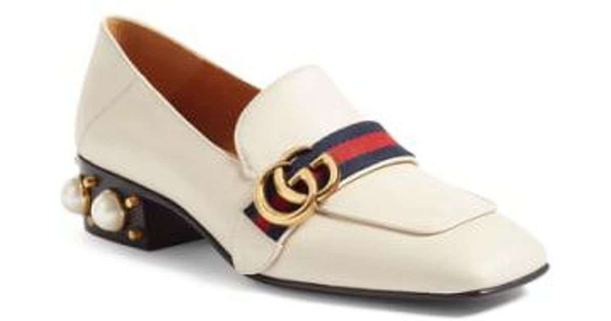 e3786a85e73 Lyst - Gucci Embellished Heel Loafer