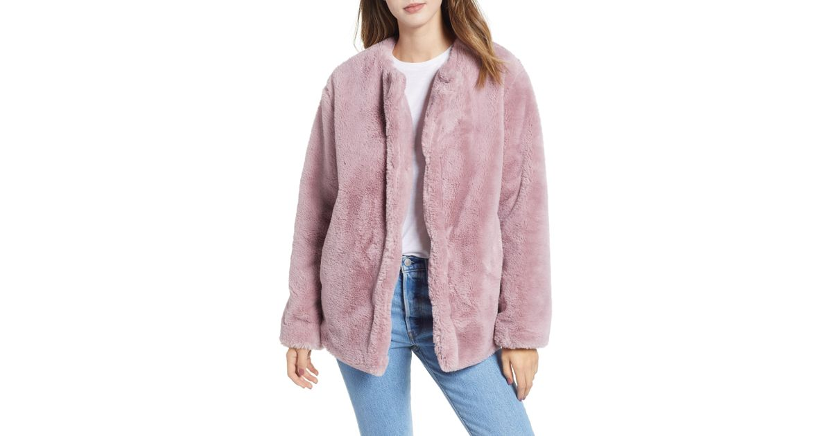 600ed19d2f2 Bernardo Borg Faux Fur Jacket in Pink - Save 43% - Lyst