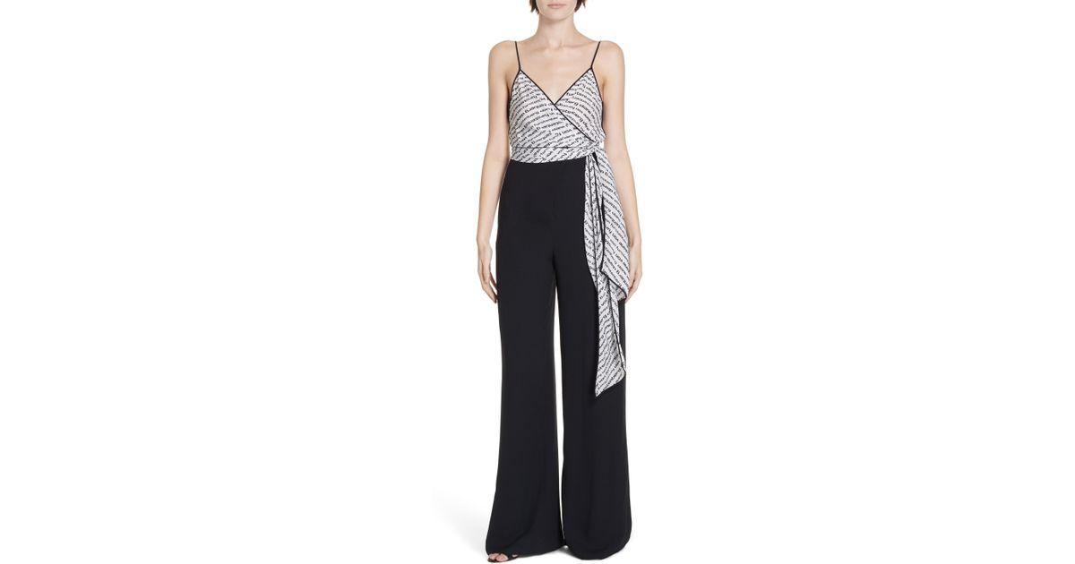 fc6bfd2b1b9 Lyst - Diane Von Furstenberg Barry Tie Waist Jumpsuit in Black