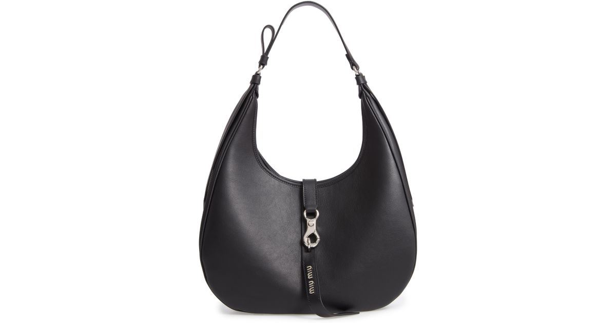 Lyst - Miu Miu Medium Grace Lux Calfskin Leather Hobo - fc40970b12f7f