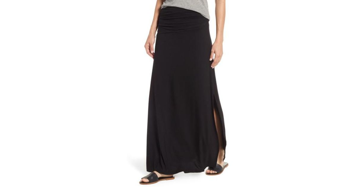 6bf75d2e177 Bobeau - Black Ruched Side Slit Maxi Skirt - Lyst