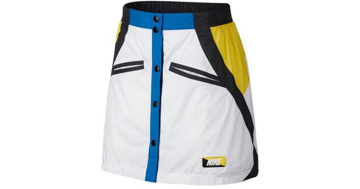 b0525dc9c Nike Sportswear Woven Moto Skirt in White - Lyst