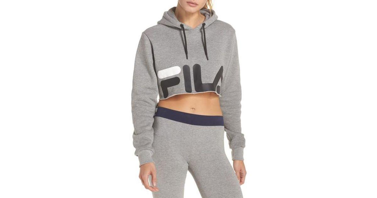 ae81825bbce54 Lyst - Fila Pam Crop Hoodie in Gray