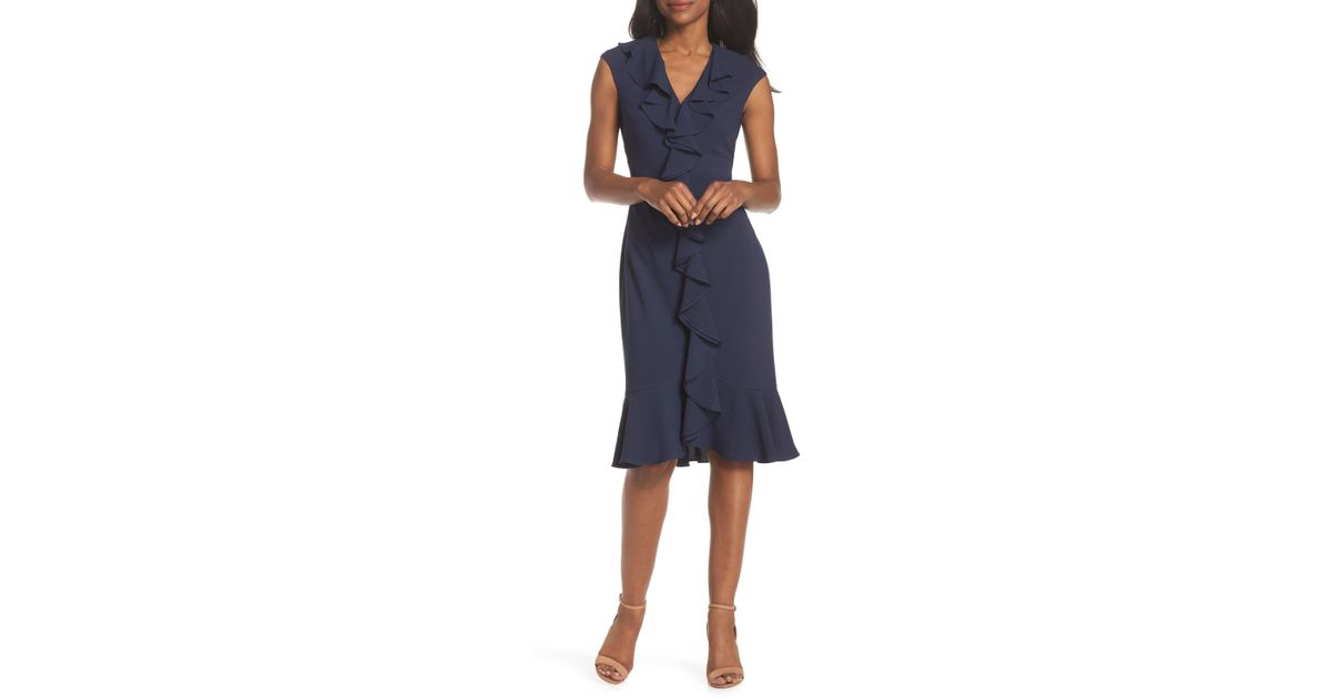 8f658debba4 Lyst - Maggy London Crepe Ruffle Front Sheath Dress in Blue