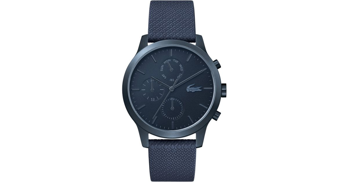 Lyst - Lacoste 12.12 Premium Chronograph Leather Strap Watch in Blue for Men