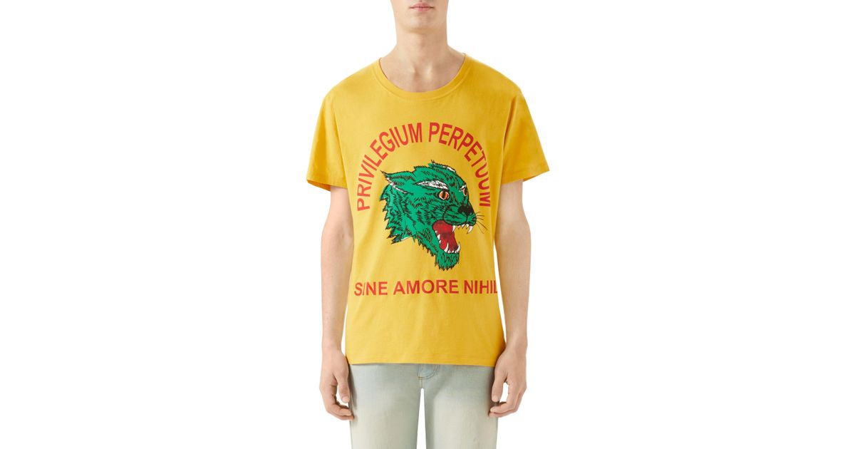 b2c6df9ca6 Lyst - Gucci Tiger Print Cotton Jersey T Shirt in Yellow for Men - Save 18%