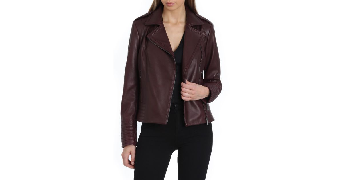 Badgley Mischka Womens Leather Biker Jacket with Envelope Collar