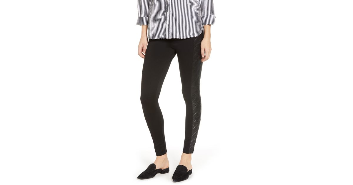 c82f7dc9a2 Lyssé Gemma Faux Leather Quilted Panel Ankle Leggings in Black - Lyst