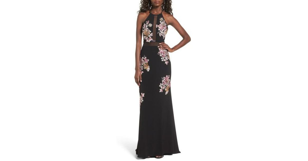 025cf981a6e Xscape Embellished Floral Halter Gown in Black - Lyst